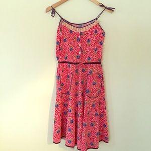 Dresses & Skirts - Vintage 1950s Red Floral Day Dress Sundress